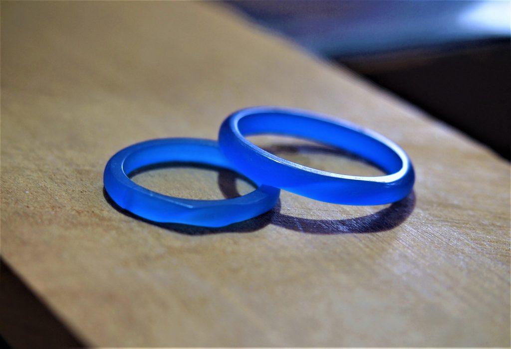 完成した手作り指輪の原型ワックス